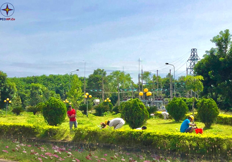 Công nhân vận hành chăm sóc Vườn hoa và Trạm biến áp 35kV - NMTĐ Đrây H'Linh 2